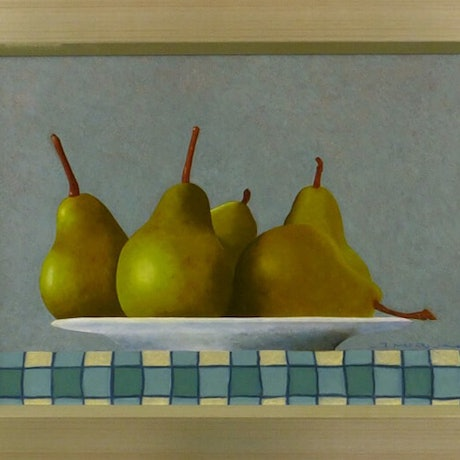 (CreativeWork) Pears on Plate by James McFarlane. Oil Paint. Shop online at Bluethumb.