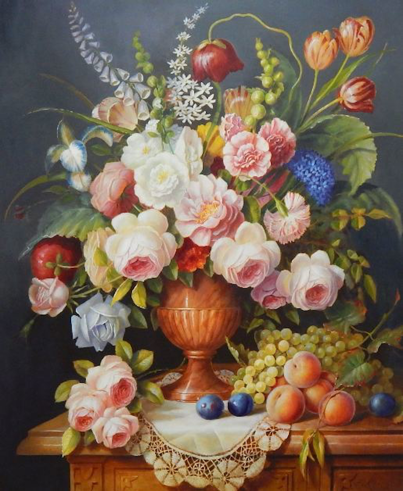 """(CreativeWork) """"A regal bouquet with assorted fruits"""" - Framed ready to hang by Jos Kivits. Oil Paint. Shop online at Bluethumb."""