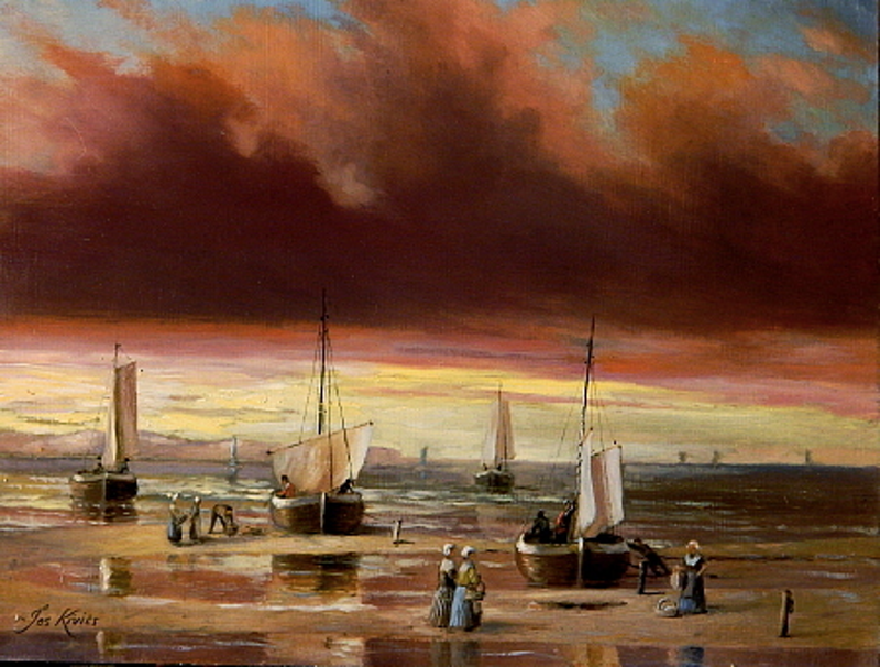 "(CreativeWork) ""Bomschuiten at dawn with very red sky"" (Holland) - Framed ready to hang by Jos Kivits. oil-painting. Shop online at Bluethumb."