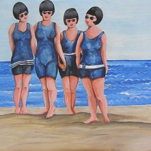 (CreativeWork) Beach babes circa 1919 by Andrea Berry. arcylic-painting. Shop online at Bluethumb.