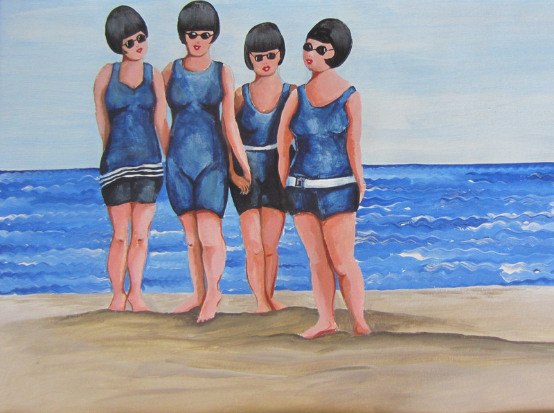 (CreativeWork) Beach babes circa 1919 by Andrea Berry. acrylic-painting. Shop online at Bluethumb.