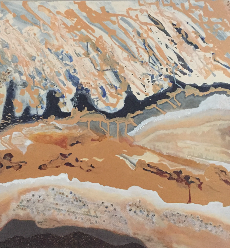 (CreativeWork) Abstract - Sand into Water by Ilona Kovacs. mixed-media. Shop online at Bluethumb.
