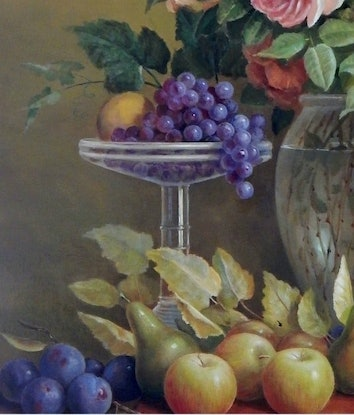 """(CreativeWork) """"Big floral, Grapes and roses in Art Deco vase"""" - Framed ready to hang by Jos Kivits. Oil. Shop online at Bluethumb."""