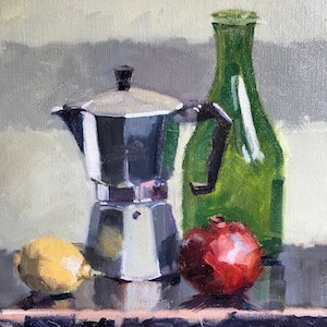 (CreativeWork) Coffee Pot and Friends by Ray Wilson. oil-painting. Shop online at Bluethumb.