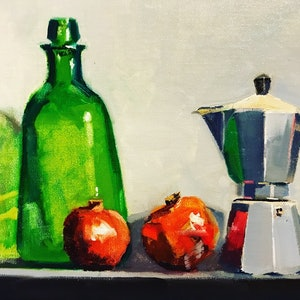 (CreativeWork) Green Bottle and Pomegranates by Ray Wilson. oil-painting. Shop online at Bluethumb.