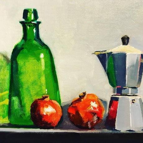 (CreativeWork) Green Bottle and Pomegranates by Ray Wilson. Oil Paint. Shop online at Bluethumb.