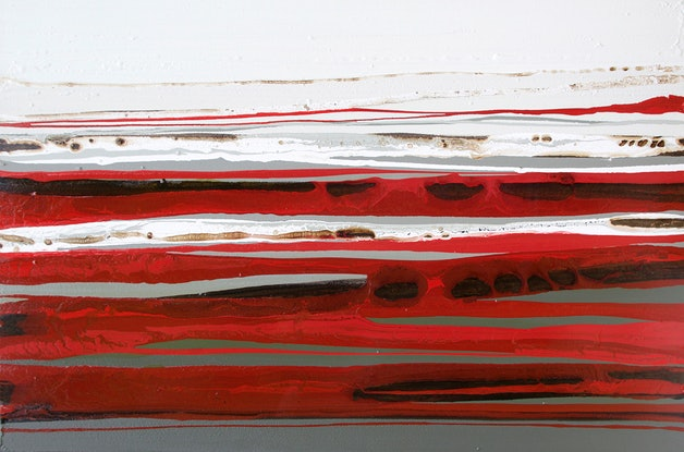 (CreativeWork) Derut Beraux - Very large red, brown, abstract landscape painting by Stephanie Laine Pickering. Mixed Media. Shop online at Bluethumb.