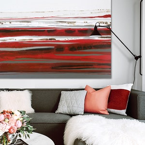 (CreativeWork) Derut Beraux - Very large red, brown, abstract landscape painting by Stephanie Laine Pickering. #<Filter:0x00007fafed2d2130>. Shop online at Bluethumb.