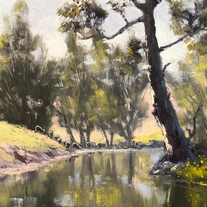(CreativeWork) The Crudine River At Nayla by John Rice. oil-painting. Shop online at Bluethumb.