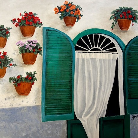 (CreativeWork) Wall garden by Evelyn James. Acrylic. Shop online at Bluethumb.