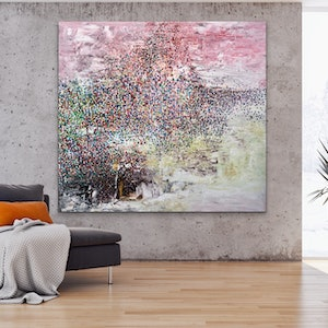 (CreativeWork) Vail of white Confetti  by Theo Papathomas. oil-painting. Shop online at Bluethumb.