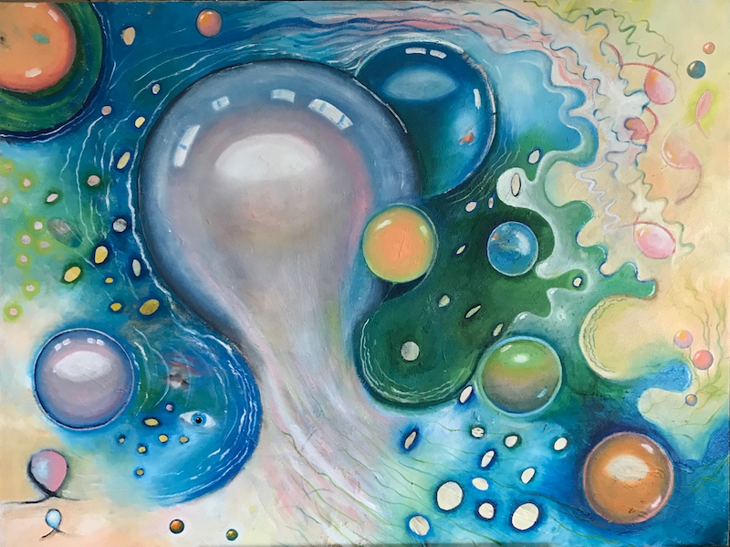 (CreativeWork) Bubbles of Joy by Tania Weekes. oil-painting. Shop online at Bluethumb.