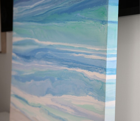 (CreativeWork) Mersea - large, blue green, abstract seascape by Stephanie Laine Pickering. Acrylic Paint. Shop online at Bluethumb.