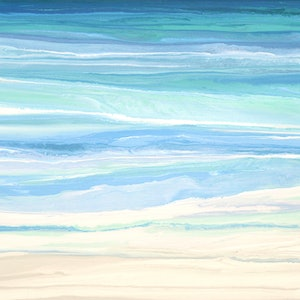 (CreativeWork) Mersea - large, blue green, abstract seascape by Stephanie Laine Pickering. arcylic-painting. Shop online at Bluethumb.