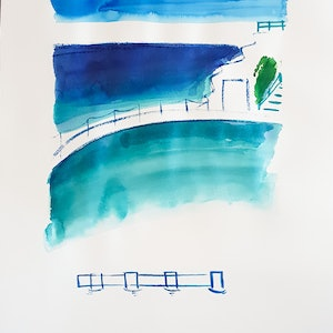 (CreativeWork) Bronte Ocean Baths  by Jennifer Baird. mixed-media. Shop online at Bluethumb.