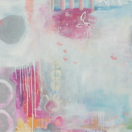 (CreativeWork) White and pink abstract - Childhood Imaginings by Fiona Hill. Mixed Media. Shop online at Bluethumb.