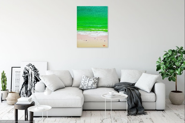 (CreativeWork) Noosa Beach Aerial View 1 by Rod Moore. Acrylic Paint. Shop online at Bluethumb.