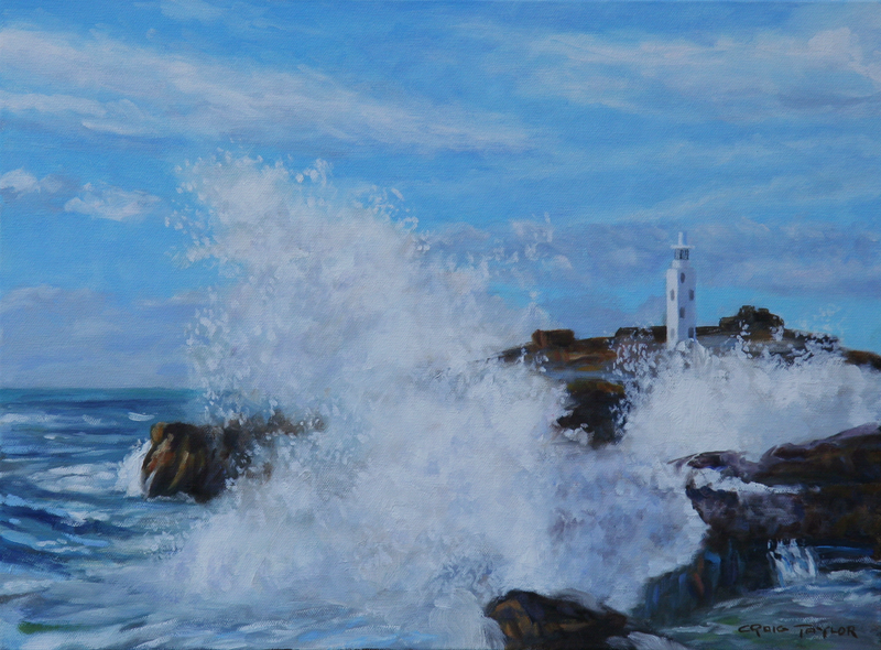(CreativeWork) Waves Crashing Around Godrevy Lighthouse In Cornwall by Craig Taylor. Oil Paint. Shop online at Bluethumb.