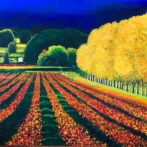 (CreativeWork) THE RED VINEYARD by LOUISE GROVE WIECHERS. arcylic-painting. Shop online at Bluethumb.