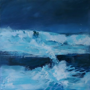 (CreativeWork) Stormy Surf Phillip Island by Jill Rogers. arcylic-painting. Shop online at Bluethumb.