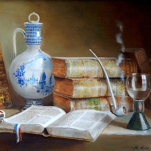 "(CreativeWork) ""The Library -Books, blue Delft vase, pipe matchbox etc"" - Framed ready to hang by Jos Kivits. oil-painting. Shop online at Bluethumb."