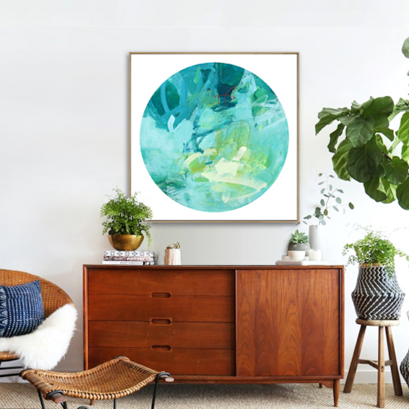 (CreativeWork) Quasar - large blue green abstract by Stephanie Laine. Acrylic Paint. Shop online at Bluethumb.