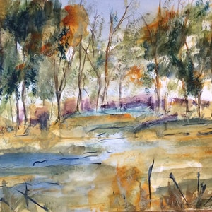 (CreativeWork) Out in the bush (watercolour on Fabriano smooth) by Margaret Morgan (Watkins). watercolour. Shop online at Bluethumb.