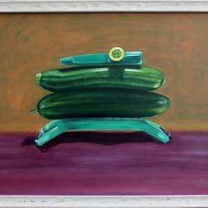 (CreativeWork) Green Kazoo by Tia Terry. oil-painting. Shop online at Bluethumb.