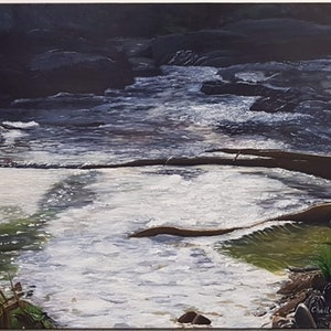 (CreativeWork) Rocky River by Michelle Boland. arcylic-painting. Shop online at Bluethumb.