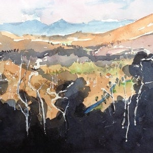 (CreativeWork) Dawn over the Murrumbidgee valley by Bernd Rieve. watercolour. Shop online at Bluethumb.