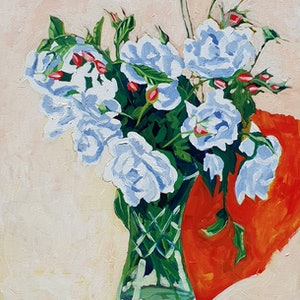 (CreativeWork) Roses by John Winslow Lavery. arcylic-painting. Shop online at Bluethumb.