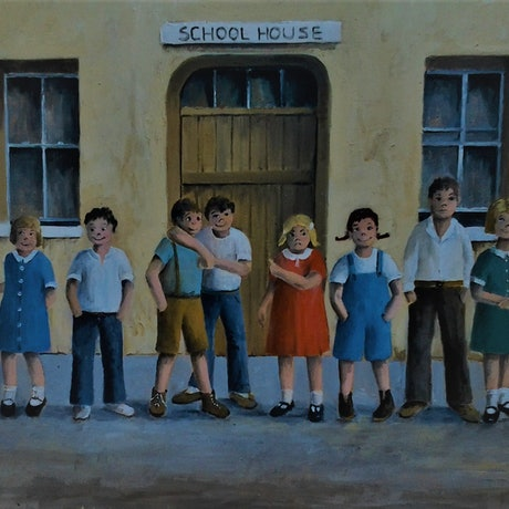 (CreativeWork) School Photo by Viv Gregory. Oil Paint. Shop online at Bluethumb.