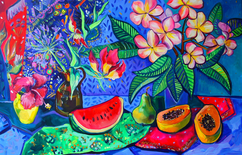(CreativeWork) Still Life with Frangipani and Watermelon by Katerina Apale. #<Filter:0x00007fe3603577a8>. Shop online at Bluethumb.