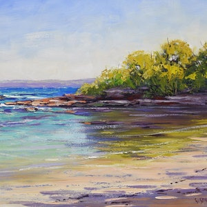 (CreativeWork) Colours of Honey moon Bay ,  NSW by Graham Gercken. oil-painting. Shop online at Bluethumb.