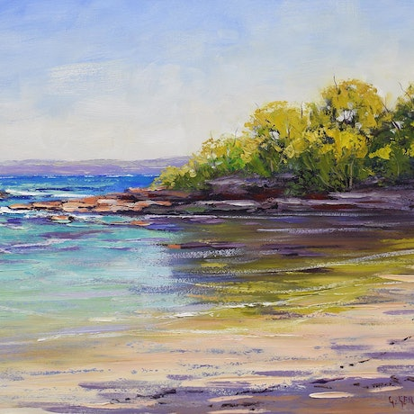 (CreativeWork) Colours of Honey moon Bay ,  NSW by Graham Gercken. Oil Paint. Shop online at Bluethumb.