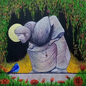 (CreativeWork) Bluebird singing to St Francis by Chih Chan. arcylic-painting. Shop online at Bluethumb.