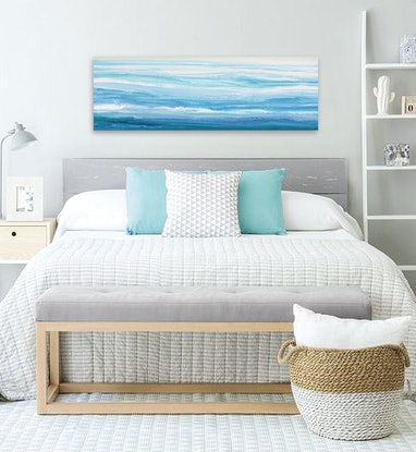 (CreativeWork) Stellasea - Long, abstract seascape by Stephanie Laine Pickering. Acrylic Paint. Shop online at Bluethumb.
