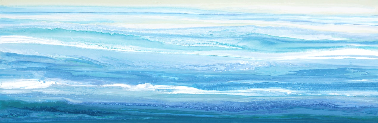(CreativeWork) Stellasea - Long, abstract seascape by Stephanie Laine Pickering. #<Filter:0x00007f9794b2fcb8>. Shop online at Bluethumb.