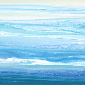 (CreativeWork) Stellasea - Long, abstract seascape by Stephanie Laine Pickering. arcylic-painting. Shop online at Bluethumb.