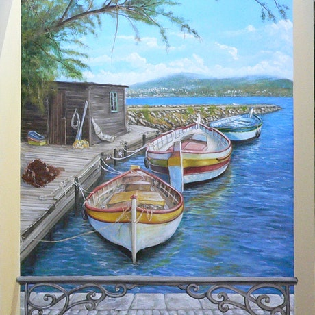 (CreativeWork) After Fishing by Gerard Maille. Oil Paint. Shop online at Bluethumb.