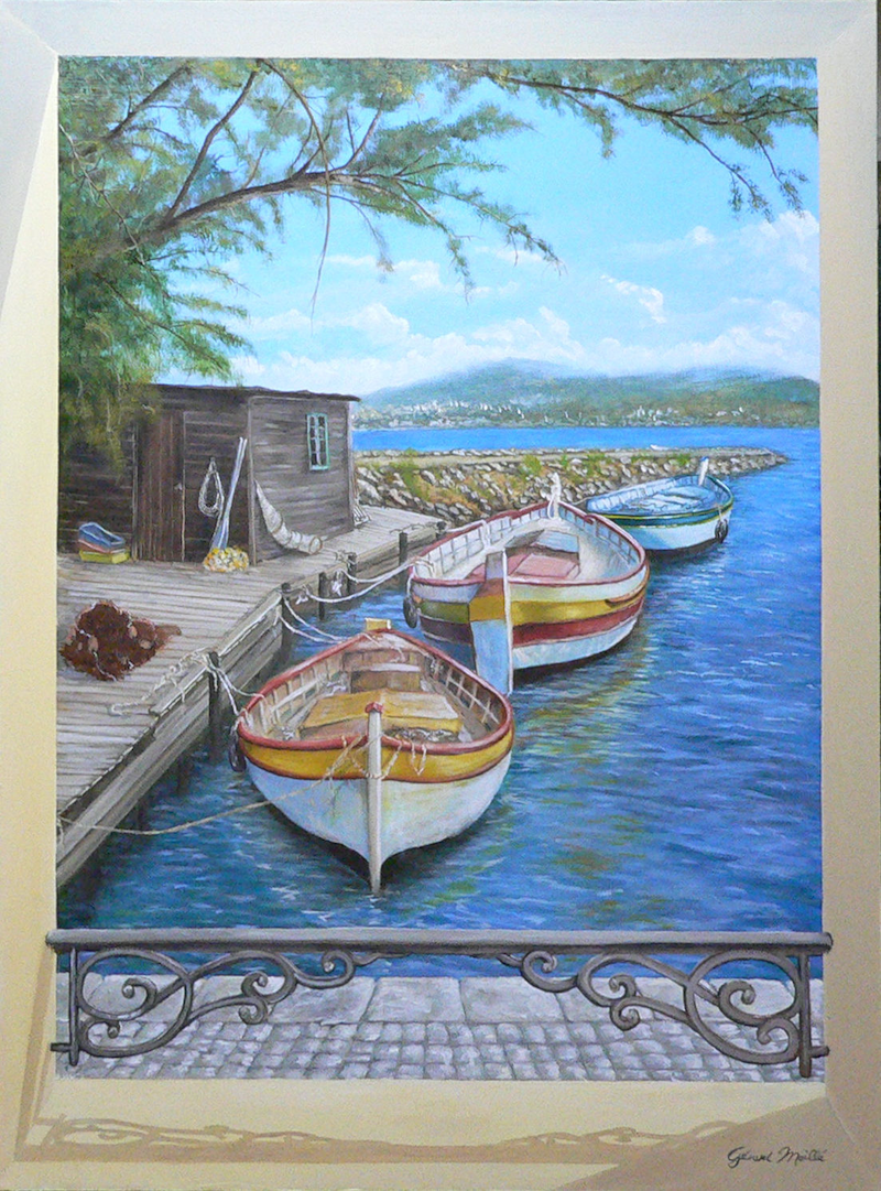 (CreativeWork) After Fishing by Gerard Maille. oil-painting. Shop online at Bluethumb.