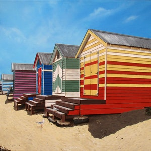 (CreativeWork) Brighton beach midday Limited edition giclee print Ed. 1 of 100 by Debra Dickson. print. Shop online at Bluethumb.