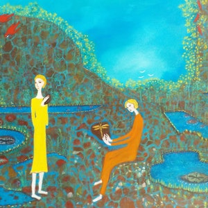 "(CreativeWork) ""The Fossil Hunters"" by Catherine Walker. arcylic-painting. Shop online at Bluethumb."