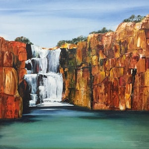(CreativeWork) Stunning Gorge Waterfall by Julie Dynan. arcylic-painting. Shop online at Bluethumb.