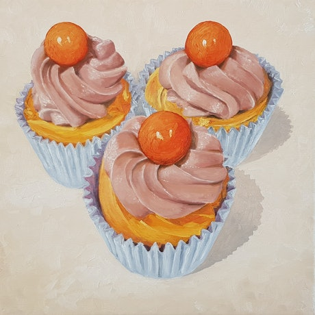 (CreativeWork) Jaffa cupcakes by Rory OBrien. Oil Paint. Shop online at Bluethumb.