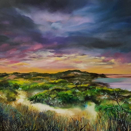 (CreativeWork) Sunset Dune by Fae Ballingall. Oil Paint. Shop online at Bluethumb.
