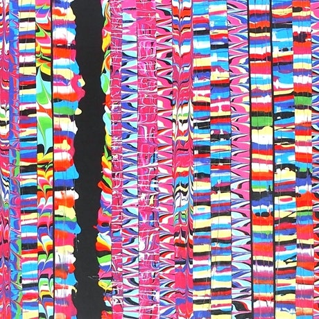 (CreativeWork) Glitch.  Zingy patterned striped painting by Julee Latimer. Acrylic Paint. Shop online at Bluethumb.