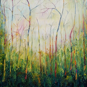 (CreativeWork) Morning Sunshine in the Bush by Corinne Young. oil-painting. Shop online at Bluethumb.