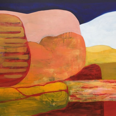 (CreativeWork) Escarpment at Dusk by Greta Laundy. acrylic-painting. Shop online at Bluethumb.
