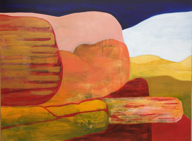 (CreativeWork) Escarpment at Dusk by Greta Laundy. arcylic-painting. Shop online at Bluethumb.